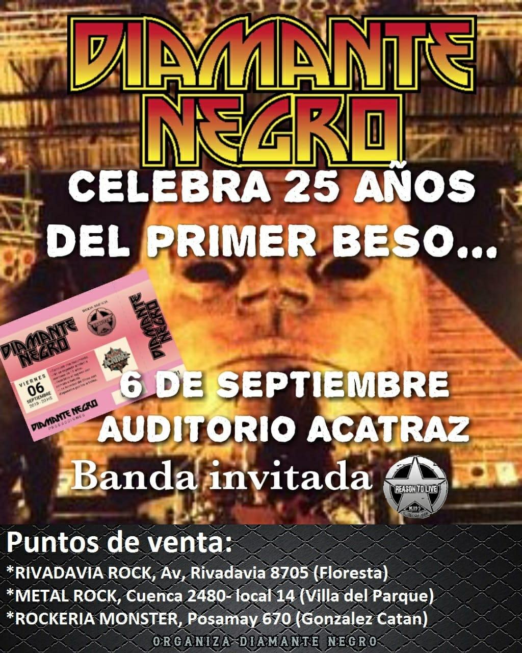 """Ya es oficial!!!! Tenemos el agrado de contarles que el 6 de septiembre estaremos festejando los 25 años del primer show de kiss en Argentina, espectaculo que hemos bautizado como """"25 años del primer beso!!"""" BANDA INVITADA: REASON TO LIVE!!! * Recrearemos el show de River completo!!! * Escenografia Kiss 94' * Entrada conmemorativa replica de Monsters of Rock 94' * Stand de merchandise de Karisma Remeras con motivos referentes a kiss Argentina 94 con fotos nunca antes vistas, proporcionadas del archivo del fotografo oficial de aquel evento. Las entradas podran ser adquiridas en Rivadavia Rock, Metal Rock y Rockeria Monster a partir del lunes 22 de junio. PROMOCION ESPECIAL!!: las primeras 100 entradas tendran un costo especial de $200, las cuales estaran repartidas entre los 3 puntos de venta, luego pasaran a costar $250, asi que no cuelgues en conseguirlas. Los esperamos a todos para formar parte de este gran festejo, Abrazo kisseros!!"""